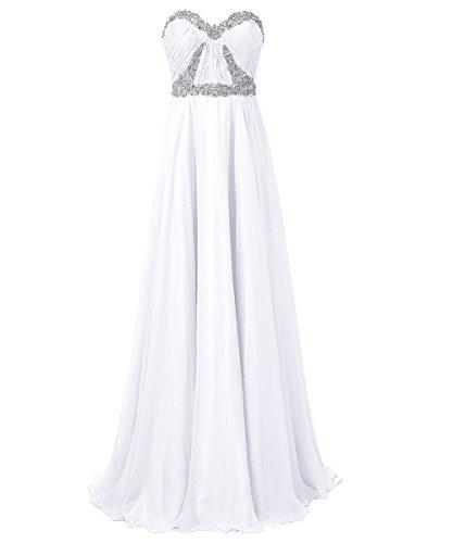 Dresstells, Robe de soirée Robe de cérémonie Robe de gala mousseline bustier en cœur longueur ras du sol avec paillettes Blanc