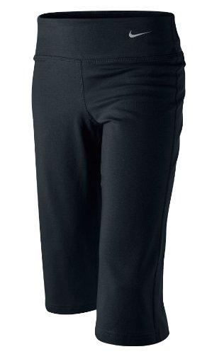 NIKE Mädschen Capri Hose Regular Dri-Fit Cotton,  black/black/matte silver,M, KN463010M Dri-fit-capri-hosen