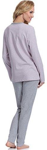 Italian Fashion IF Damen Schlafanzug Omena 0223 Melange/Rosa