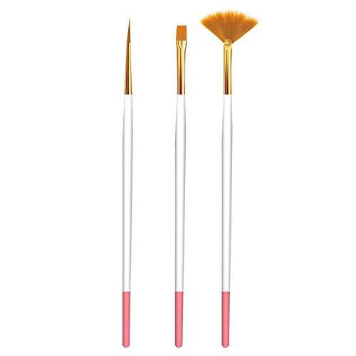 Crayon Peint XTXWEN® Nail Art Brosse Outil Set 3 Pack Tirer La Corde Peinte Ventilateur Pinceau Pinceau Poudre Nail Pen (Couleur Aléatoire)