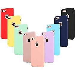 """Leathlux 9 × Coque iphone 8 Étui Silicone [Ultra Mince] Souple TPU Housse Protection Doux Gel Skin Coque pour iphone 8 4.7"""" Rose, Vert, Violet, Bleu Ciel, Jaune, Rouge, Bleu Foncé, Translucide, Noir"""