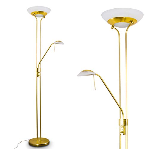 Klassisches Design Lampen Deckenfluter Ist (LED Stehlampe Biot dimmbar- Deckenfluter 1600 Lumen mit Leselampe 450 Lumen in Altmessing - Drehdimmer - 180 cm Höhe - separate Schaltung - Lesearm verstellbar - modernes Design - Glas Lampenschirm)