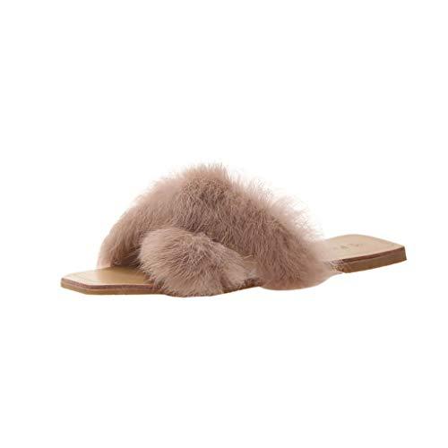 in Vendita! Nuove Pantofole Scarpe A Punta Aperta Punta Quadrata Punta Tonda Solido Pantofola da Spiaggia Corta in Peluche Scarpe da Esterno per Casa per Donna/Ragazza Kinlene
