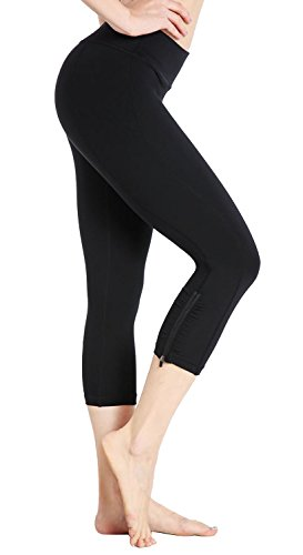 DeepTwist Yoga Hosen Power Flex Capri Tummy Control Shapewear Sporthose Workout Leggings für Damen mit Reißverschluss, UK-DT4010-Black-4 (Sie Falten Fitness Über Pant)