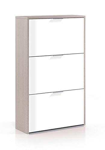 SERMAHOME- Zapatero 3 Puertas abatibles y Tirador. Color Roble- Blanco Brillo. Medidas: 60 cm Ancho...