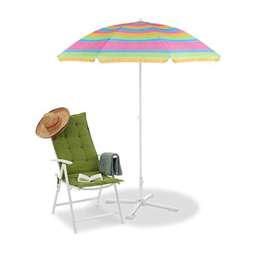 Relaxdays Strandschirm gestreift, höhenverstellbarer Sonnenschirm, Gartenschirm mit 50+ UV-Schutz, HD 210 x 170 cm, bunt (Markt Sonnenschirm Blau)