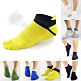 #8: Electroprime® Men Boys Five Finger Toes Separator Low Cut Ankle Crew Socks Sports Casual