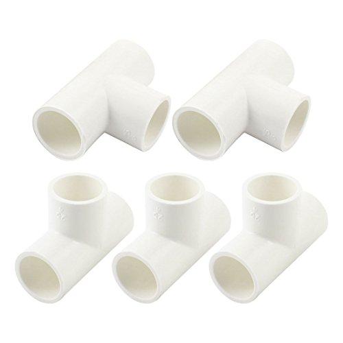 5 PVC-U 25 mm à 25 mm 3 façons Té Tuyau adaptateur connecteur blanc