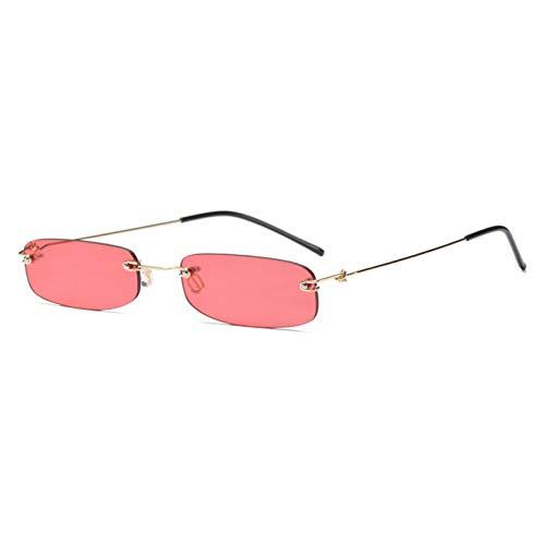 SYQA schmale Sonnenbrille Männer randlos Sommer rot blau schwarz rechteckige Sonnenbrille für Frauen kleines Gesicht heißer, C7