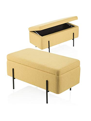 Montemaggi cassapanca contenitore in tessuto giallo con gambe nere 80x40x41 ocra