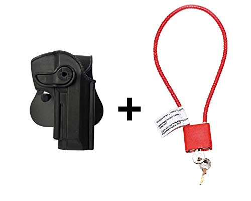 Beretta 92 Holster & Cable Gun Lock, Level 2 Safety retention w trigger guard lock, 360 roto paddle polymer Holster Fits Llama 82 / Cheetah FS 85 / Yavuz-16 -