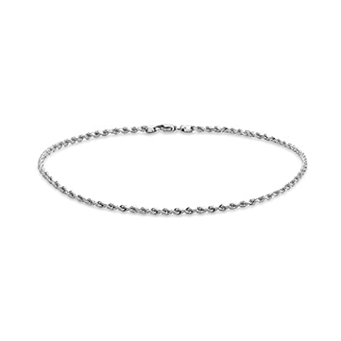 Carissima Gold 9 ct White Gold 30 Hollow Diamond Cut Rope 25.40 cm/10 inch