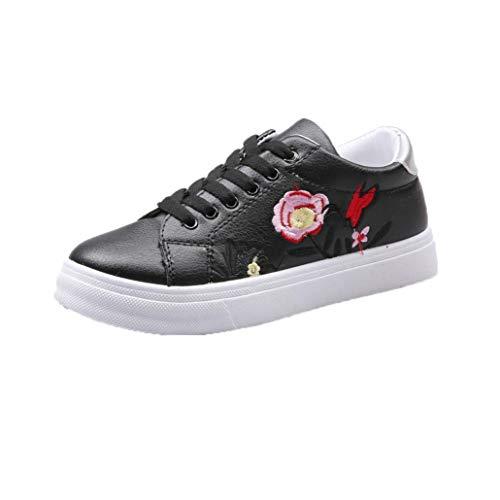 Baskets FantaisieZ Chaussures de Sport pour Femmes de Fleur Brodées Sneakers de Course pour Filles Etudiantes Petites Chaussures Blanches Décontractées