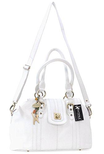 """Lederhandtasche mit Klemmverschluss """"Kate"""" von Catwalk Collection - Schwarz - Größe: B: 36,5 H: 24,5 T: 16 cm Weiß"""