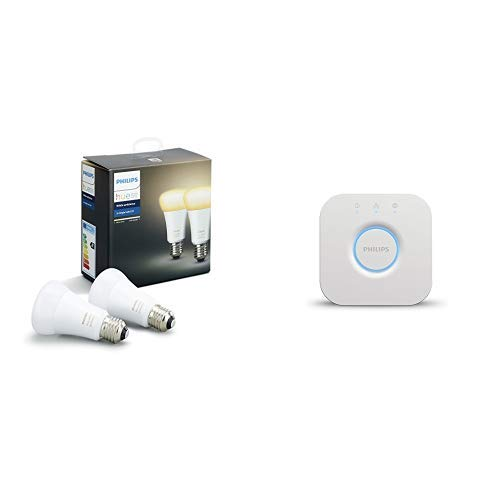 Philips Hue White Ambiance - Kit de inicio 2 bombillas LED E27, Puente Hue incluido, 9.5 W - tonos de luz blanca cálida y fría regulable, compatible con Amazon Alexa, Apple HomeKit y Google Assistant