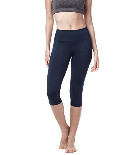 Lapasa Damen 3/4 Sport Leggings – blickdicht, dehnbar und luftig, 3/4 Yoga Sporthose, Damen kurz Training Tights, L002, Dunkelblau, XXL