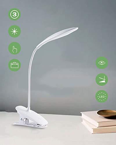 Lampada libro 20 led con clip,lampada datavolo,3 livelli di luminosità,collo flessibile, lampada portatile usb ricaricabile da scrivania,lampada da lettura portatile per libro/lavoro/letto