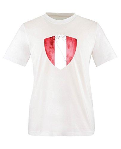 Comedy Shirts - Peru Trikot - Wappen: Groß - Wunsch - Kinder T-Shirt - Weiss/Rot Gr. 122-128 (Peru Münzen)