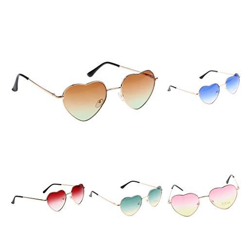 IPOTCH 5er Polarisierte Pilotenbrille Sonnenbrille Sportbrille Augen Schutz für Sommer, Reisen, Modernes Herzförmiges Design