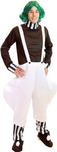 Willy Wonka Chocolate Factory Worker Erwachsene Halloween Deluxe Kostüm With Perücke and Weiß Gloves (Erwachsene L/XL)