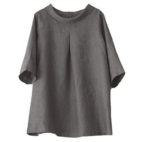Italily Donna T Shirt Top in Cotone Lino 1/2 Maniche Sciolto Camicia Stampa Magliette Maglie T-Shirt Lunga Tinta Unita 2019 Casuale Shirt Corto Manica O-Collo Camicia Ricamo Top Camicetta