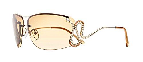 Designer Damen Sonnenbrille bunt in silber, braun und gold, UV Schutz 400, elegant und modern mit Swarovski elements von Jimmy Crystal New (Aviator Kostüme Die Film)