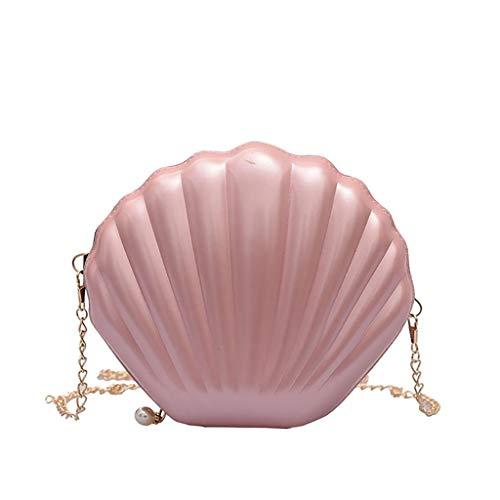 VJGOAL Damen Rucksack, Frauen Mädchen Mode Muscheltasche Volltonfarbe Kette Schulter Messenger Bag