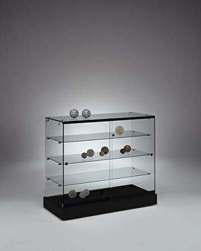 MHN breite Halbhohe Ausstellungsvitrine abschließbar - Design Glasvitrine schwarz mit LED Beleuchtung rollbar 100 cm breit