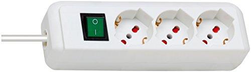 Brennenstuhl Eco-Line, Steckdosenleiste mit Schalter von Sicherheit (Kabel 1,4MT-Steckdosenleiste 3Sitzer aus Kunststoff weiß) für Steckdosen mit Schutz Überspannungsschutz -