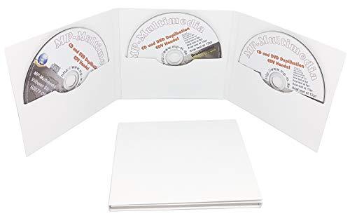 3-fach CD Hüllen aus Karton, 3er Digifile CD Papphüllen 6-seitig weiß glänzend für 3 CD/DVD oder Blu-rays, Made in Germany (10 Stück)