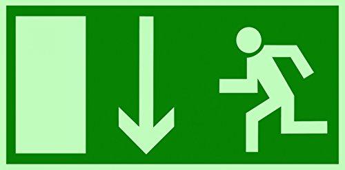 Rettungsschild Fluchtweg Notausgang Schild Kunststoff nachleuchtend/selbstklebend BGV 8A Pfeil unten