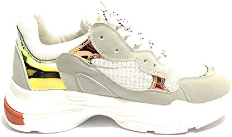 Scarpe Scarpe Scarpe scarpe da ginnastica Zeppa oro&oro Ecopelle E Tessuto Bianco Grigio Arancio Laminato Donna DS19GG01 | benevento  385585