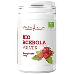 effective nature Bio Acerola Pulver mit Vitamin C und ohne Zusatzstoffe - 200 g