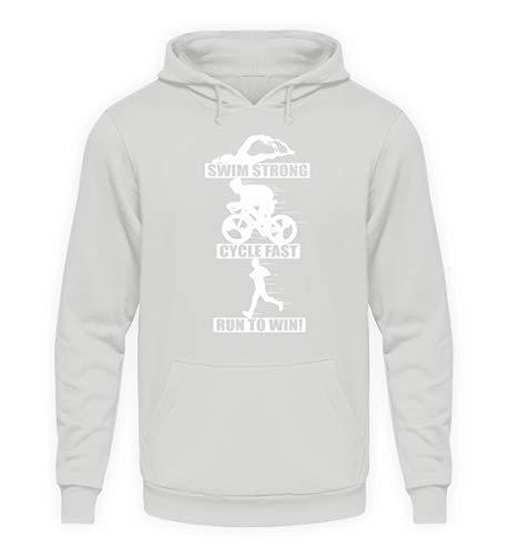 Triathlon Sprüche T-Shirt - Laufen Schwimmen Rad Fahren Mehrkampf Triathleten Geschenk - Unisex Kapuzenpullover Hoodie -M-Sport Grau - Schwimmen T-shirt Sprüche
