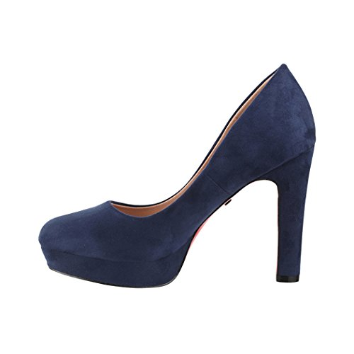 Elara Damen Pumps | Bequeme High Heels | Vintage-Style | Abendschuh Trendy | Chunkyrayan | E22360 Navy-39 - 2
