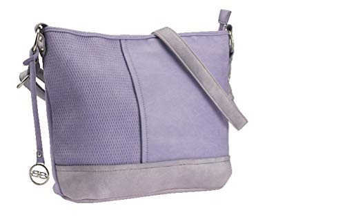 BERNARDO BOSSI Crossover Damen Tasche Shopper Hobo Bag Schultertasche Frauen Umhängetasche verschiedene Modelle (M6 lila) - Lila Shopper