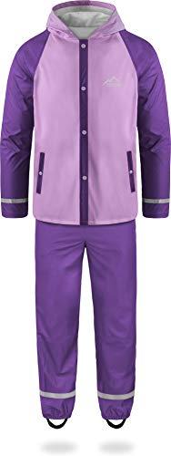 Kinder Kids Regenanzug für Jungen + Mädchen in einzigartigen Kontrastfarben - Wassersäule: 5000 mm - Absolut Wind- und Wasserdicht für Schule, Kindergarten oder Freizeit Farbe Pink Größe XL-158/164