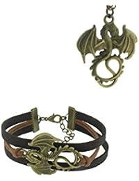 Game of Thrones inspired Daenerys Targaryen Dragon Necklace & Bracelet Set (Necklace & Bracelet Set)
