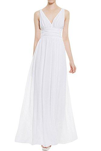 Milano Brid Chiffon A-Linie Abendkleider Ballkleider Cocktailkleider Brautjungfernkleider Lang Weiß