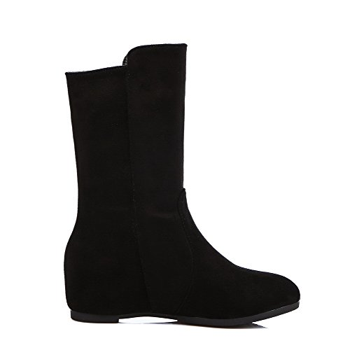 AgooLar Damen Rein Blend-Materialien Niedriger Absatz Ziehen auf Rund Zehe Stiefel, Schwarz, 35