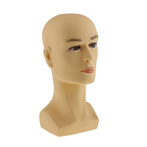 Sharplace Tête Mannequin Homme en Plastique Support Stand pour Affichage à Perruque Chapeaux Casquettes Bijoux - Jaune
