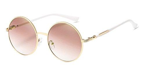 BOZEVON Retro Style Circle Sonnenbrille Runde Linse für Damen Gold-braun