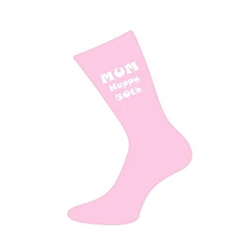 Mum Happy 50th Pink Womens Socks for 50th Birthday Present
