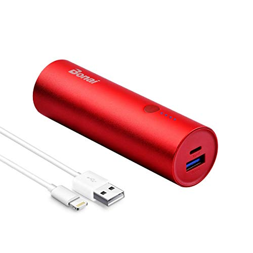 BONAI 5800mAh Batterie Externe Portable Power Bank Ultra Capacité pour iPhone X/ 6/7/ 8plus iPad Samsung Galaxy S8/9/Note9 Huawei Sony Tablette etc- Rouge (USB câble Inclus)