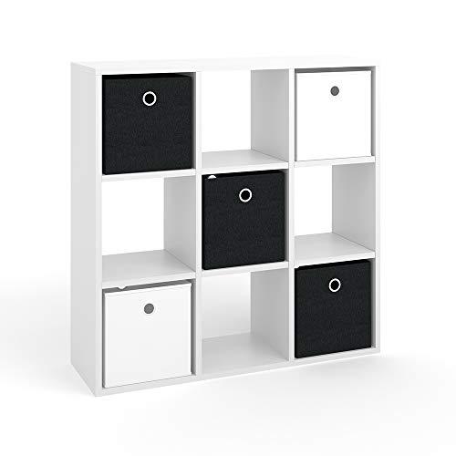Vicco Raumteiler HYLDA 9 Fächer inkl. Faltboxen Weiß Standregal Regal Bücherregal Büroregal