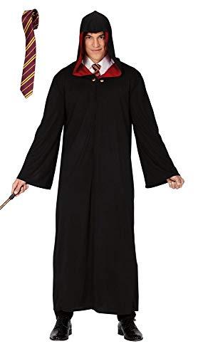 shoperama Zauberer Robe Mantel mit Kapuze Gr. L mit Krawatte für Erwachsene Magier Umhang Herren-Kostüm (Harry Potter Motto Kostüm)