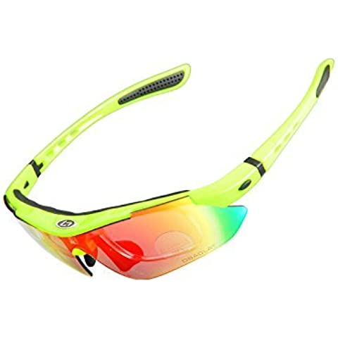 KK-DEPORTES KKgud Ciclismo Wrap Correr Deportes al aire libre gafas de sol multi-deporte Gafas intercambiables 5 lentes polarizadas UV400 Unbreakable- Fluorescente Amarillo