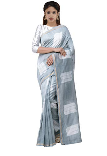 Unnati Silks Women Pure Shibori Chanderi Saree with blouse piece from the Weavers of Madhya Pradesh(UNM30161+Grey +Free size)