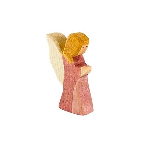 Kleiner Engel aus Holz (rosa Kleid) – Weihnachten Holzspielzeug, aus Schwäbischer Handarbeit (100% ökologisch) von Holzspielwaren