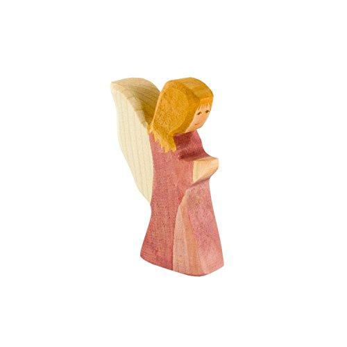 Holzspielwaren Ackermann Kleiner Engel aus Holz (Rosa Kleid) – Weihnachten Holzspielzeug, aus Schwäbischer Handarbeit (100% ökologisch)